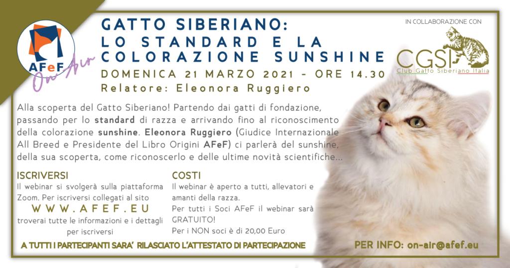 siberiano pedigree riconosciuto afef webinar standard sunshine evento